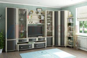 Мебель для гостиной состоит из модульной системы и набирается из возможных модулей
