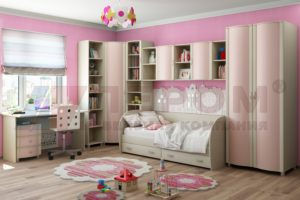 Детская комната состоит из модульной системы и набирается из возможных модулей