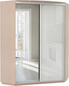 Угловой, корпус Дуб молочный, двери зеркало с аппликацией, стекло
