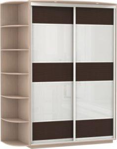 2-х дверный, корпус Дуб молочный, двери бамбук, стекло
