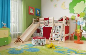 """Вариант 14 Низкая кровать """"Соня"""" с наклонной лестницей и горкой"""